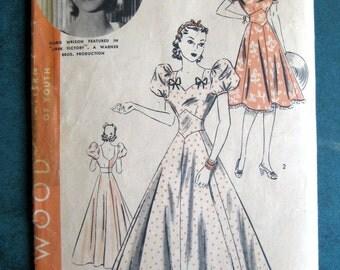 1782 Vintage Hollywood 1940's Pattern Long or Short Dress sz 14