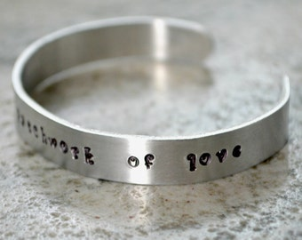 Metal Stamp Cuff Bracelet: Family is a Patchwork of Love - perfect gift for the faith-filled quilter and sewist or adoption