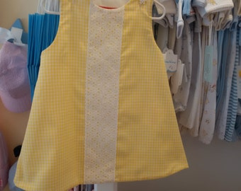 Yellow Gingham White Eyelet Girls Dress