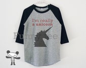 I'm really a unicorn shirt for kids toddlers boys girls clothing  **raglan sleeve
