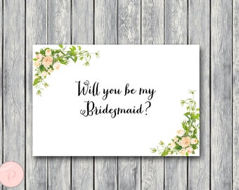 Will You Be My Bridesmaid Printable Cards, Wedding Printable, Wedding Cards WD12 TH01