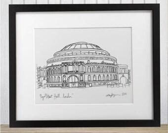 London Royal Albert Hall doodle print