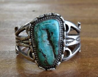 Vintage Navajo Sterling Silver Turquoise Sandcast Cuff Bracelet