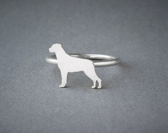 ROTTWEILER RING / Rottweiler Ring / Silver Dog Ring / Dog Breed Ring / Silver, Gold Plated or Rose Plated.