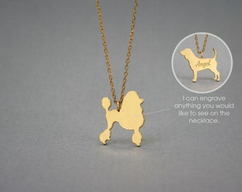 14K Solid GOLD Tiny POODLE Name Necklace - Poodle Necklace - Gold Dog Necklace - 14K Gold or Rose Plated on 14k Gold Necklace