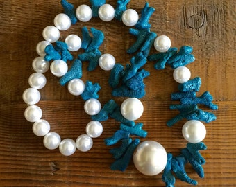 Under The Sea...Blue Coral & Pearls