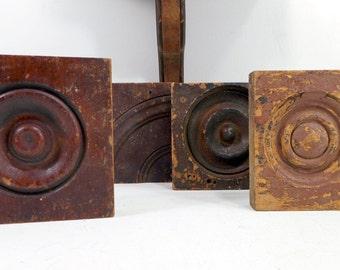 Antique Bullseye Molding, Victorian Rosettes, Vintage Corner Blocks, Architectural Salvage