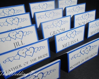 Heart place name cards wedding table plan any colours available