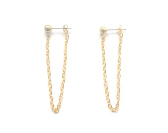 Chain Stud Earring, Gold Chain Earring, Front Back Chain Earring, Front Back Earring, Ball Chain Stud, Dangle Long Chain Earring, Chain Stud