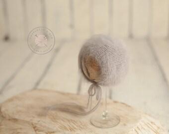 Grey French Angora newborn bonnet **READY TO SHIP**