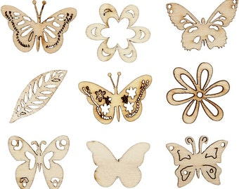 45 wooden Butterflies & Flowers to personalise and Make you Own Filigree Butterfly Jewelry or Embellishments. Die Cut Wood Craft Supplies