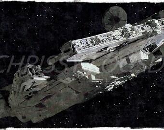Millenium Falcon Star Wars 11 x 14 Watercolor Poster Wall Art Print Photo
