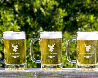 Personalized Beer Mug -  4 Custom Beer Glasses - Custom Etched Beer Mug - Wedding Party Gifts - Gifts for Groomsman, Beer Lovers Gift -