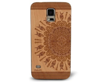 Laser Engraved Mandala Doodle Fish Coral Under the Sea Paisley Pattern on Genuine Wood phone Case for Galaxy S5, S6 and S6Edge S-024