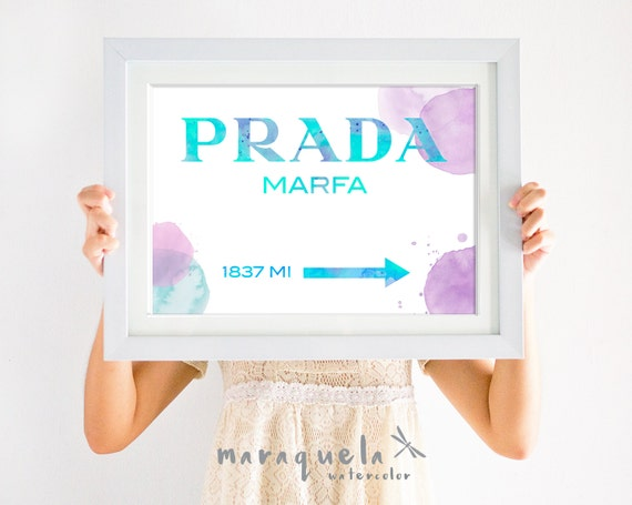 Prada Marfa STAINS WATERCOLOR Letters Inspired wall art Poster, Prada Marfa Gossip Girl, Spots painted Marfa from distance Fashion Art Print