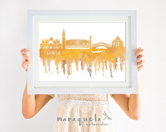 VENICE ITALY Skyline watercolor yellow or pink, Italia decor, print travel, gift memory Venezia trip, wall art Veneza Venedig, wedding gift
