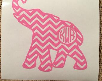 Chevron Elephant Monogram Decal