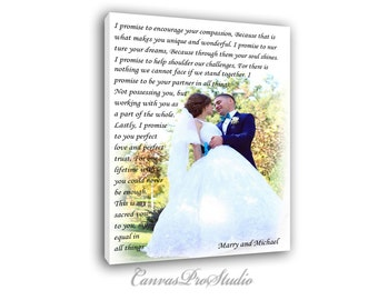 Valentine's day gift, Photo-text to canvas  Custom Wedding Canvas with Love Story/Poem/ Lyrics/ Vows Wedding Song, Vows. Unique Wall Decor.