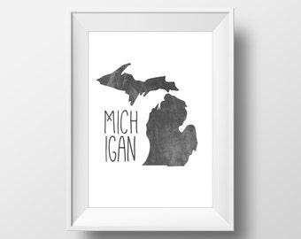 Michigan State Black Chalkboard Printable Art, Michigan Print, Michigan Art, Modern Art,