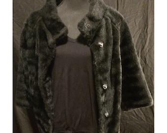 Vintage Black Faux Fur Three-Quarter-Length Coat Jacket