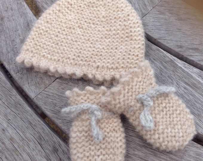 Baby Mitten and Hat set, Alpaca & merino wool new born baby mittens and hat by Willow Luxury