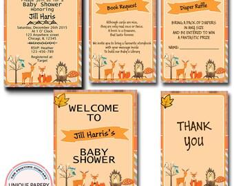 WOODLAND BABY SHOWER Invitation With Fox, Forest Animals Baby Shower Invitation, Boy Woodland Baby Shower Invitation