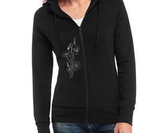 Nasturtium Embroidered Hoodie Fitted Sweatshirt