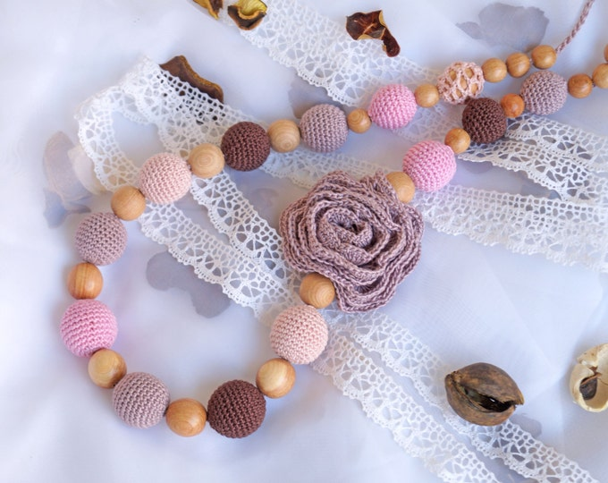 "Nursing necklace/ Teething necklace/ Breastfeeding necklace / Babywearing necklace ""Shebby Rose"""