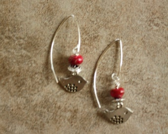 70 Red turquoise and silver tiny bird drop earrings, sterling ear wires, boho, artisan, dangle