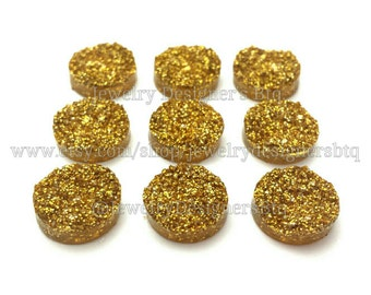 12mm Druzy Cabochons Faux Druzy Gold Golden Cabochon Resin Embellishment Jewelry Supplies Earring Findings Cameo Settings Kawaii Supply