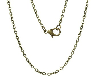 12pcs Antique Bronze Tone Necklace Chain 62CM Long 6mm Lobster Clasp Necklaces Chains Jewelry Findings Supplies