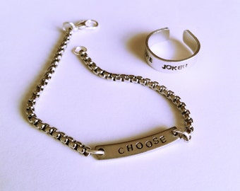 Men's stainless steel bracelet with personalized engraving