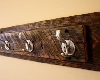 Wall coat rack, Coat Rack, towel rack, 4 hook, entryway organizer, reclaimed wood coat rack, reclaimed wood