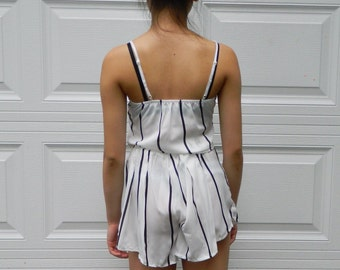 White and black stripped two piece top and bottom set