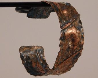 Blue-Patina Copper Fold Form Bracelet