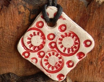 Red and White Patterened Ceramic Necklace