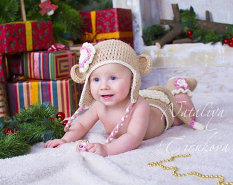 Crochet Baby Sock Monkey Hat And Diaper Cover Set