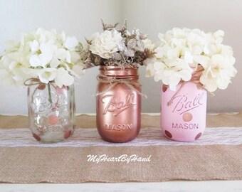 Pink and Rose Gold Mason Jar Centerpieces, Baby Shower Mason Jars, Mason Jar Decor, Painted Ball Jars, Polka Dots, Rustoc Wedding and Home