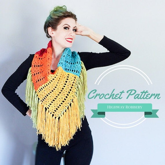 Crochet Pattern Fringed Colorblock Bandana Cowl
