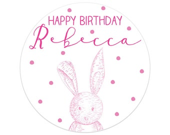 First Birthday Party Decorations | Bunny Birthday Party Stickers | Bunny Rabbit Party | Printed Party Stickers | Australia