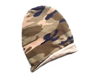 Camo Reversible Slouchy Beanie, Camo Beanie, Reversible Beanie, Camouflage