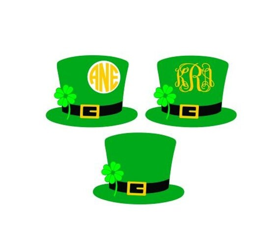 Leprechaun Hat Monogram Svg Studio 3 Dxf Ai Ps And Pdf