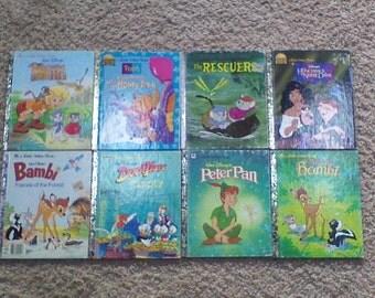 Lot of 8 Vintage Little Golden Books Hardcover Children's Books - Walt Disney