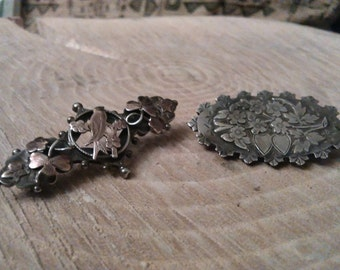 Two English Silver Sweetheart Brooches