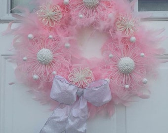 Small Pink Feather Wreath