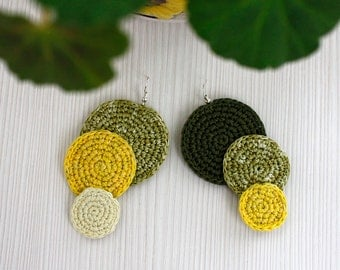 Crochet Earrings, Cotton Thread, Summer Fashion, Handmade Jewelry, Sterling-Silver Plated, Crochet Jewelry, Fresh Lime Green Earrings