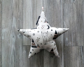 Star small cushion with Fox and teepee