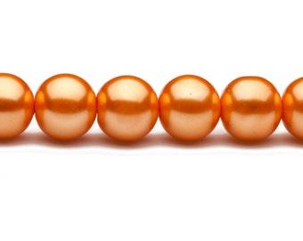 4-16mm orange round glass pearl