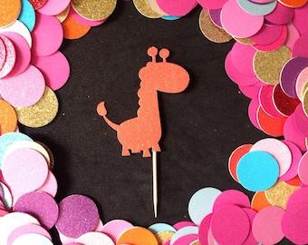 12pcs Glitter Giraffe Cupcake Toppers ( More Color )