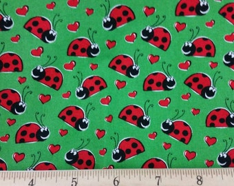 "Lady bug Green Fabric 18"" Remnant/ Bolt End 1730"